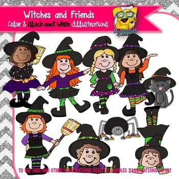 Witches and Friends -PEEPles Collection Commercial Use Clipart