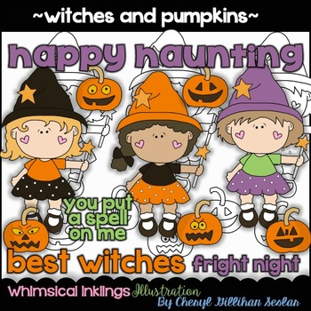 Witches and Pumpkins Halloween Clipart Collection