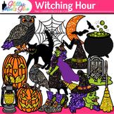 Witching Hour Halloween Clip Art - Witch, Owl, Pumpkin, Ba