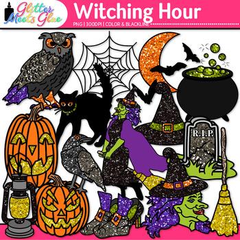 Witch Halloween Clip Art {Pumpkin, Bat, Moon, Owl, Cat, &