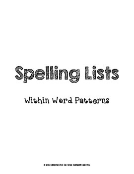 Within Word Patterns Spelling Lists