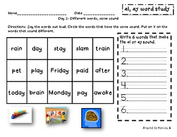 Within Word: ai, ay word study packet