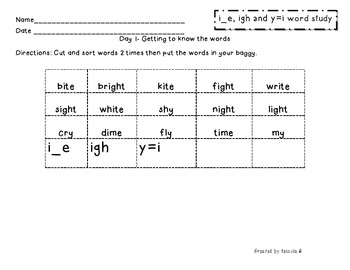 Within Word: i_e, igh and y=i word study packet (with visu