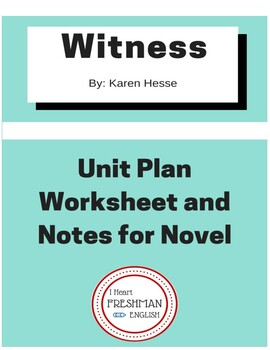 Witness by Karen Hesse Unit Plan and Notes