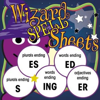 Wizard Spell Sheets: Words ending S/ES/ING/ED/ER: Yr 1 Bundle 3
