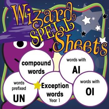 Wizard Spell Sheets: prefix UN/compound words/sight words/