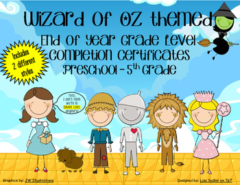 Wizard of Oz End of the Year Completion Certificates - Pre