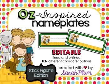 Wizard of Oz Inspired Editable Nameplates {Stick Figure Edition}