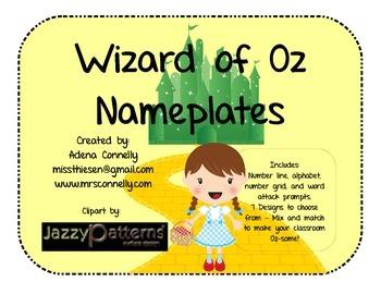 Wizard of Oz Nameplates