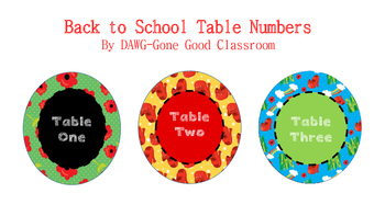 Wizard of Oz Table Numbers