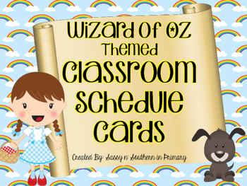 Wizard of Oz Themed Classroom Schedule Cards (Rainbows)
