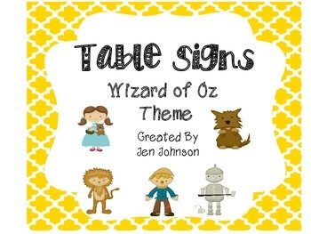 Wizard of Oz table posters small