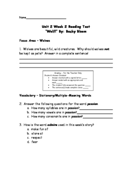 Wolf! - Alternative Treasures Weekly Reading Test