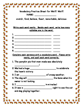 Wolf!  Wolf!  Vocabulary Practice Sheet