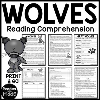 Wolves non-fiction article, vocab, true/false, multiple ch