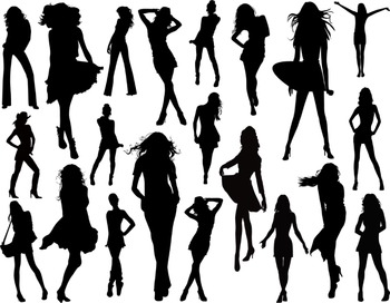 Woman Silhouettes Clip Art Digital Lady Silhouettes Fashio