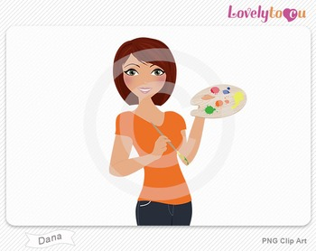 Woman artist with paint brush and palette PNG clip art (Dana 552)