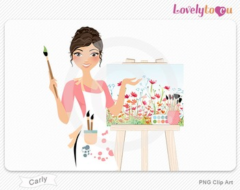 Woman artist with painted canvas PNG clip art (Carly 563)