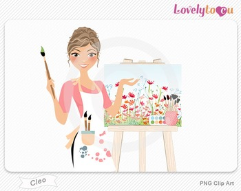Woman artist with painted canvas PNG clip art (Cleo 563)