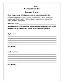 Woman at Point Zero Character Analysis Packet - Nawal El Saadawi