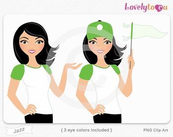 Woman baseball player or fan PNG clip art (Jazz 583)