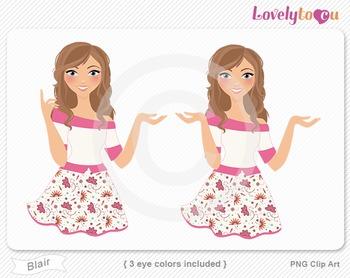 Woman character avatar 2 pack PNG clip art (Blair B50)