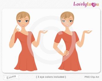Woman character avatar 2 pack PNG clip art (Emma B52)