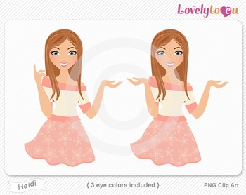 Woman character avatar 2 pack PNG clip art (Heidi B18)
