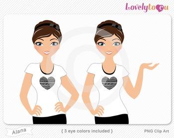 Woman character avatar 2 pack PNG clip art (Alana B42)