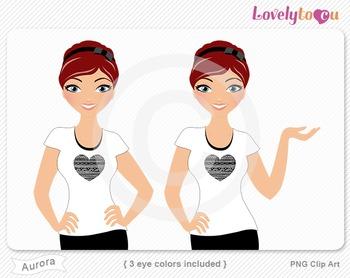 Woman character avatar 2 pack PNG clip art (Aurora B42)