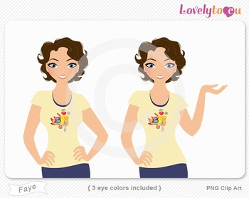 Woman character avatar 2 pack PNG clip art (Faye B44)