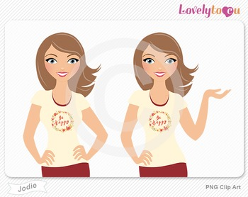 Woman character avatar 2 pack PNG clip art (Jodie B39)