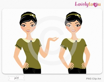 Woman character avatar pack PNG clip art (Aly B05)