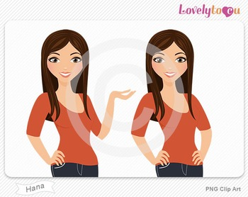 Woman character avatar pack PNG clip art (Hana B09)