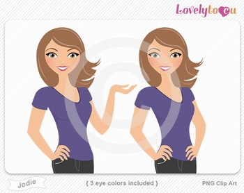 Woman character avatar pack PNG clip art (Jodie B02)