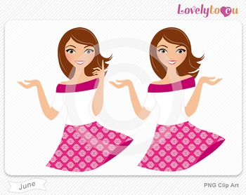 Woman character avatar pack PNG clip art (June B17)
