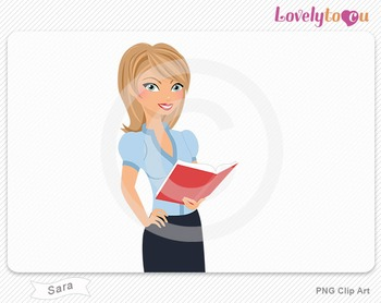 Woman character holding open book reading PNG clip art (Sara 307)