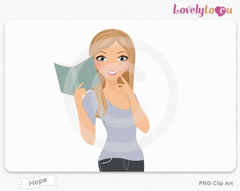 Woman character reading book PNG clip art (Hope 432)