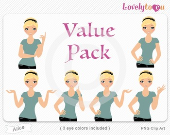 Woman character value pack PNG clip art (Alice VP02)