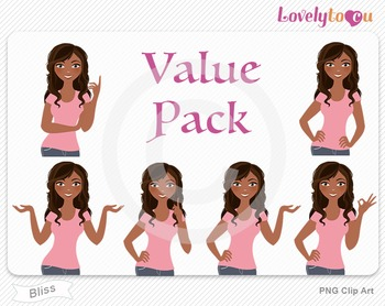 Woman character value pack PNG clip art (Bliss VP01)