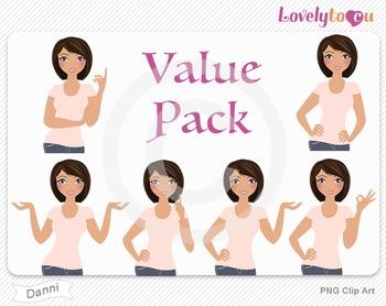 Woman character value pack PNG clip art (Danni VP04)