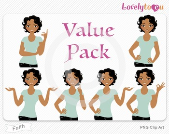 Woman character value pack PNG clip art (Faith VP07)