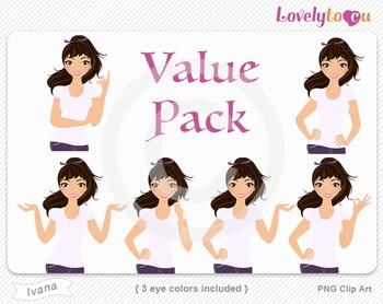 Woman character value pack PNG clip art (Ivana VP11)