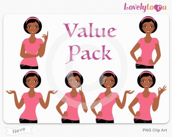 Woman character value pack PNG clip art (Neve VP09)
