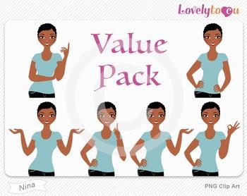 Woman character value pack PNG clip art (Nina VP09)