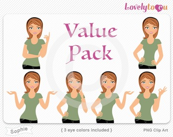 Woman character value pack PNG clip art (Sophie VP10)