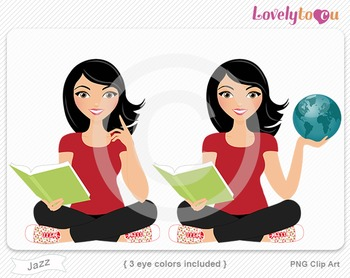 Woman character with book and globe PNG clip art (Jazz 155)
