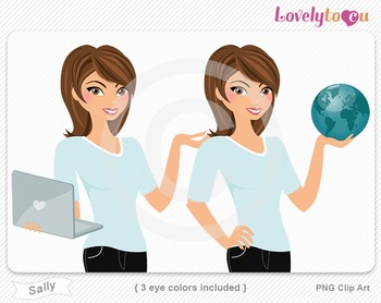 Woman character with laptop and globe PNG clip art (Sally 153)