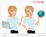 Woman character with laptop and globe PNG clip art (Sara 153)