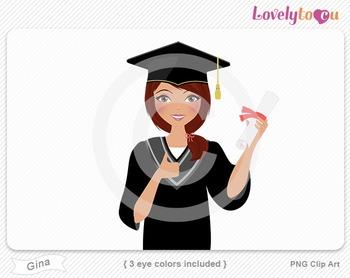Woman graduate with diploma PNG clip art (Gina 587)